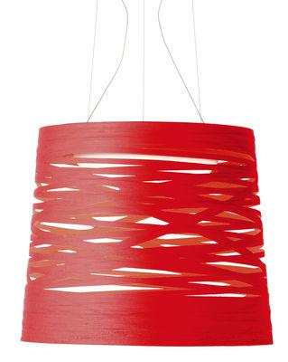 Foto Sospensione Tress - Ø 48 x h 41 cm di Foscarini - Rosso - Materiale plastico