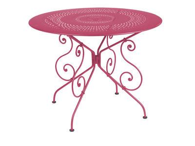 tavolo da giardino 1900 - Ø 96 cm di Fermob - Fucsia - Metallo