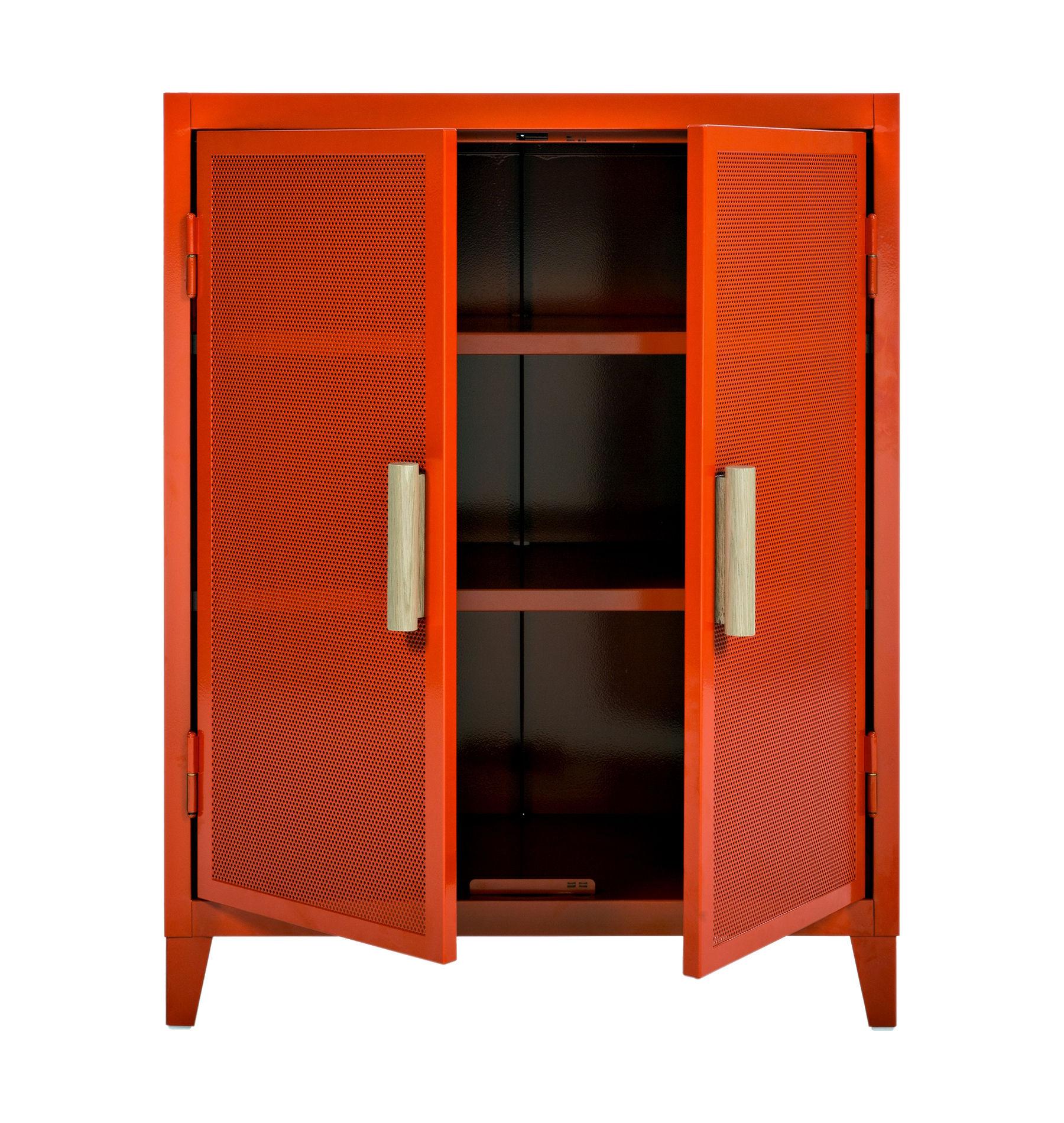rangement vestiaire bas 2 portes acier perfor bois potiron poign es ch ne tolix. Black Bedroom Furniture Sets. Home Design Ideas
