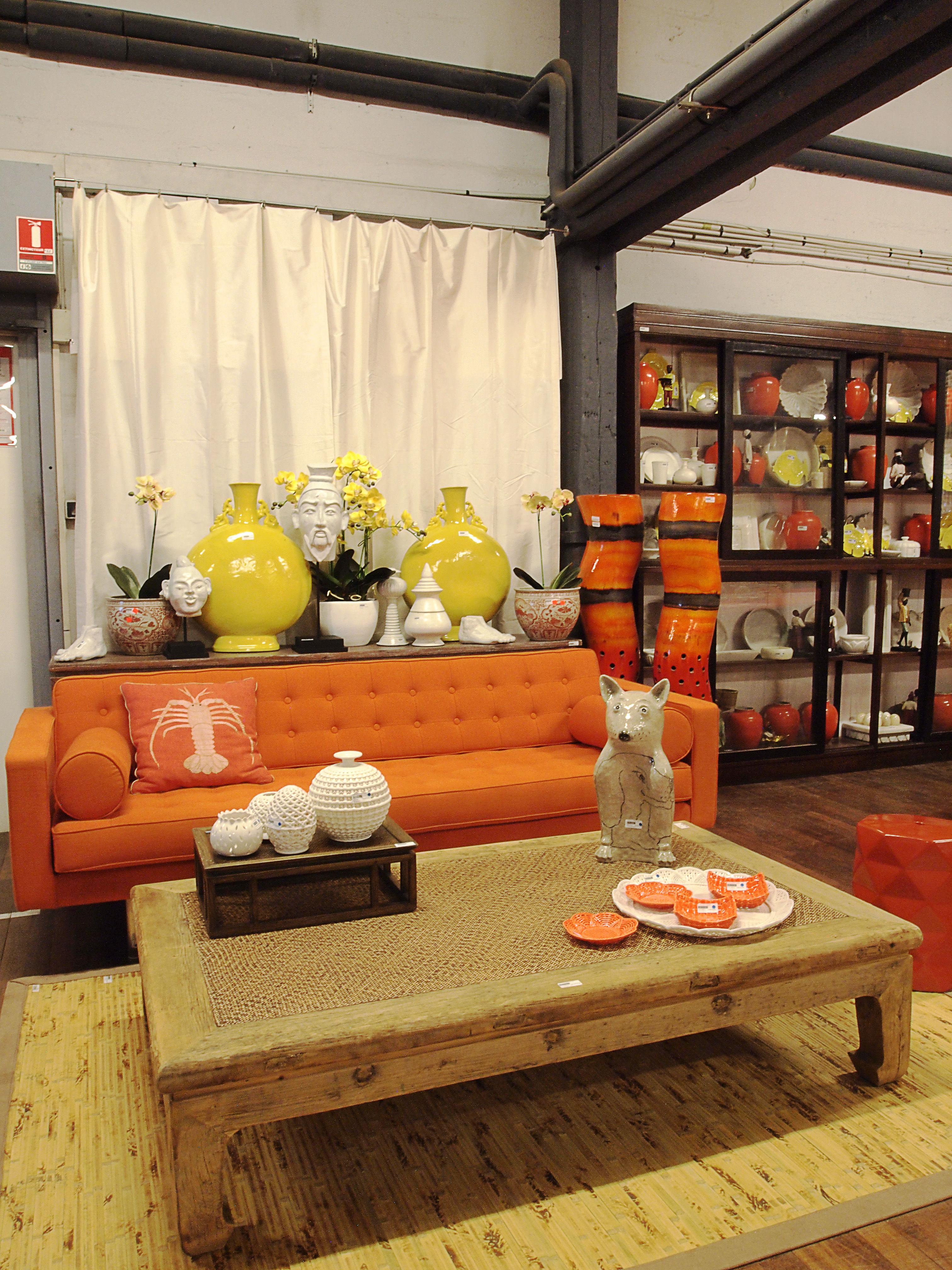 canap droit 3 places l 215 cm orange made in design editions. Black Bedroom Furniture Sets. Home Design Ideas