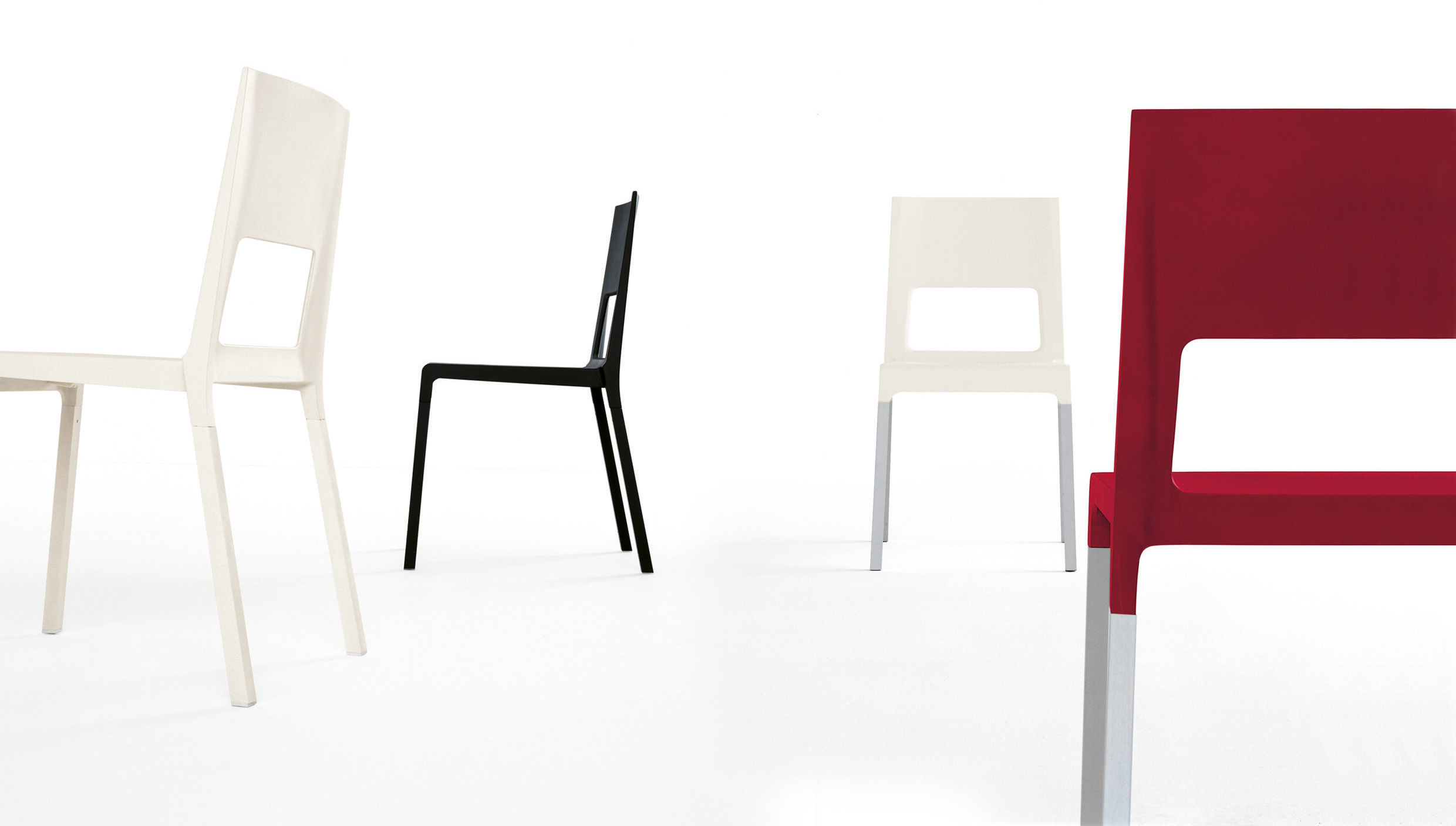face stackable chair plastic metal legs white by kristalia