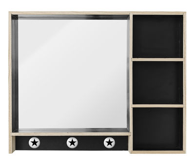 Foto Mensola Make Up / L 50 x H 40 cm - Specchio & ganci integrati - Bloomingville - Nero,Legno naturale - Legno Scaffale