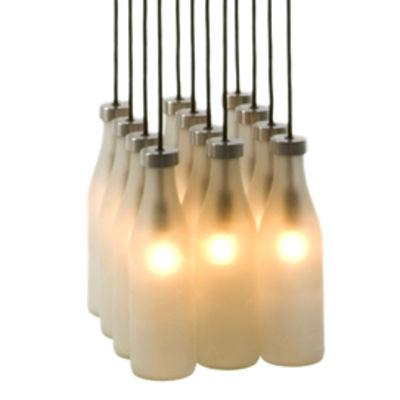 suspension milk bottle 12 translucide 12 bouteilles droog design pop corn. Black Bedroom Furniture Sets. Home Design Ideas