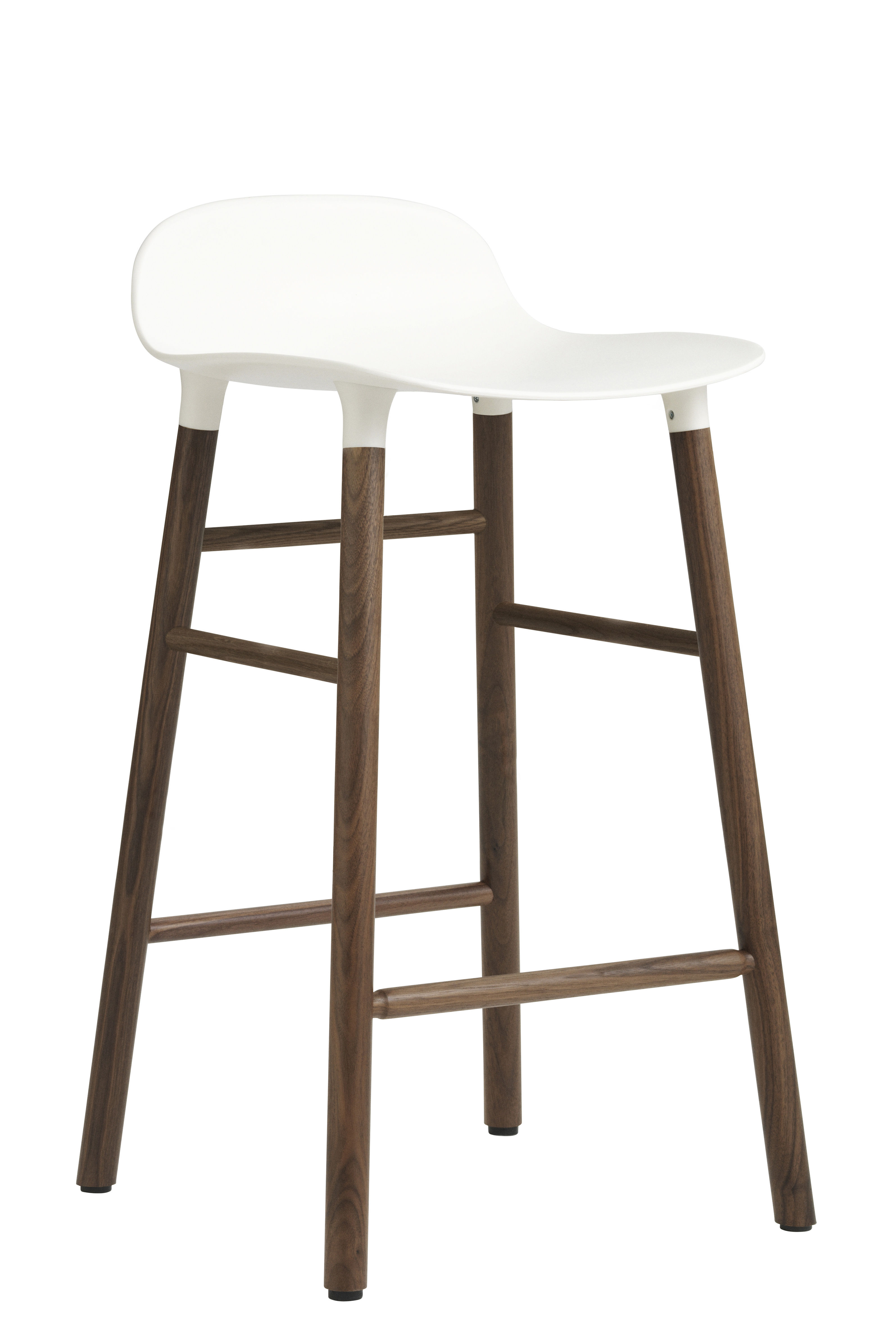 tabouret de bar form h 65 cm pied noyer blanc noyer normann copenhagen. Black Bedroom Furniture Sets. Home Design Ideas