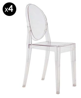 chaise empilable victoria ghost transparente lot de 4 cristal kartell. Black Bedroom Furniture Sets. Home Design Ideas
