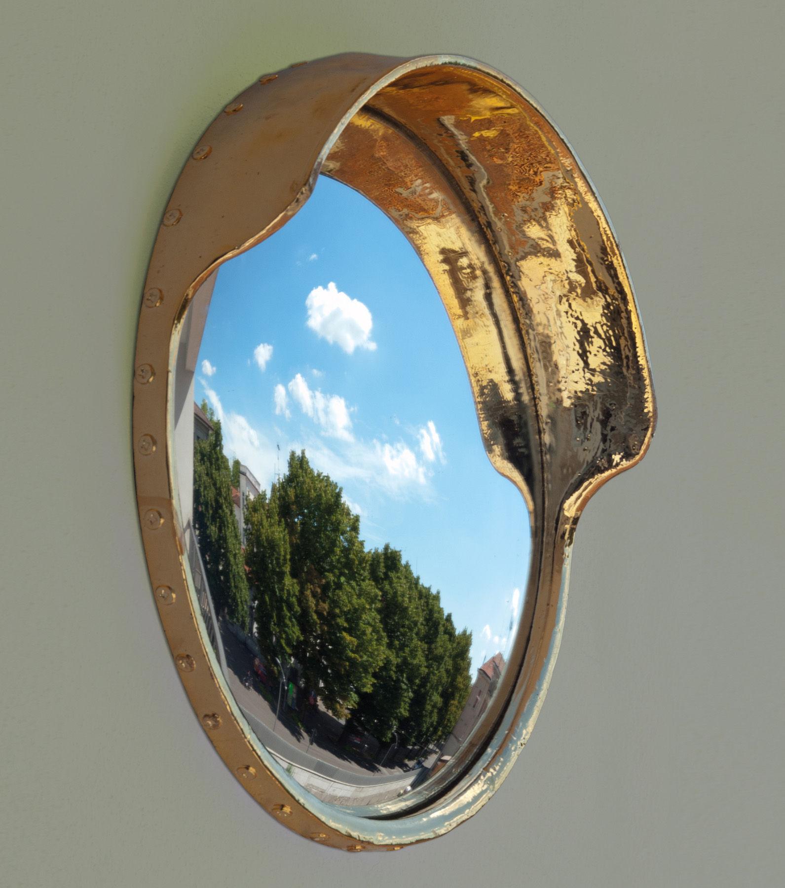Miroir focalize convexe porcelaine 41 cm dor seletti for Miroir convexe