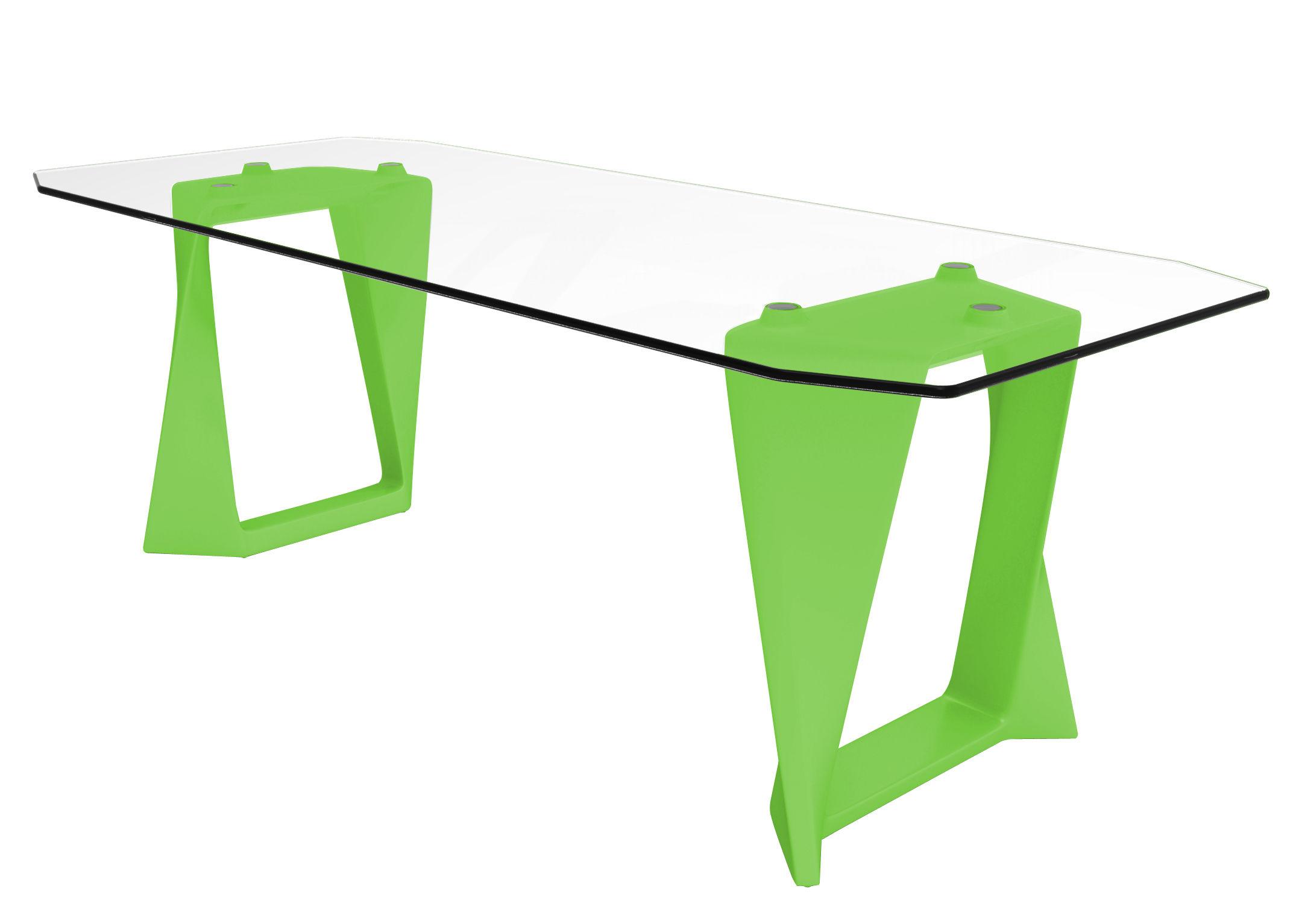 Table iso verre l 220 cm vert qui est paul - Table de jardin plastique vert saint paul ...