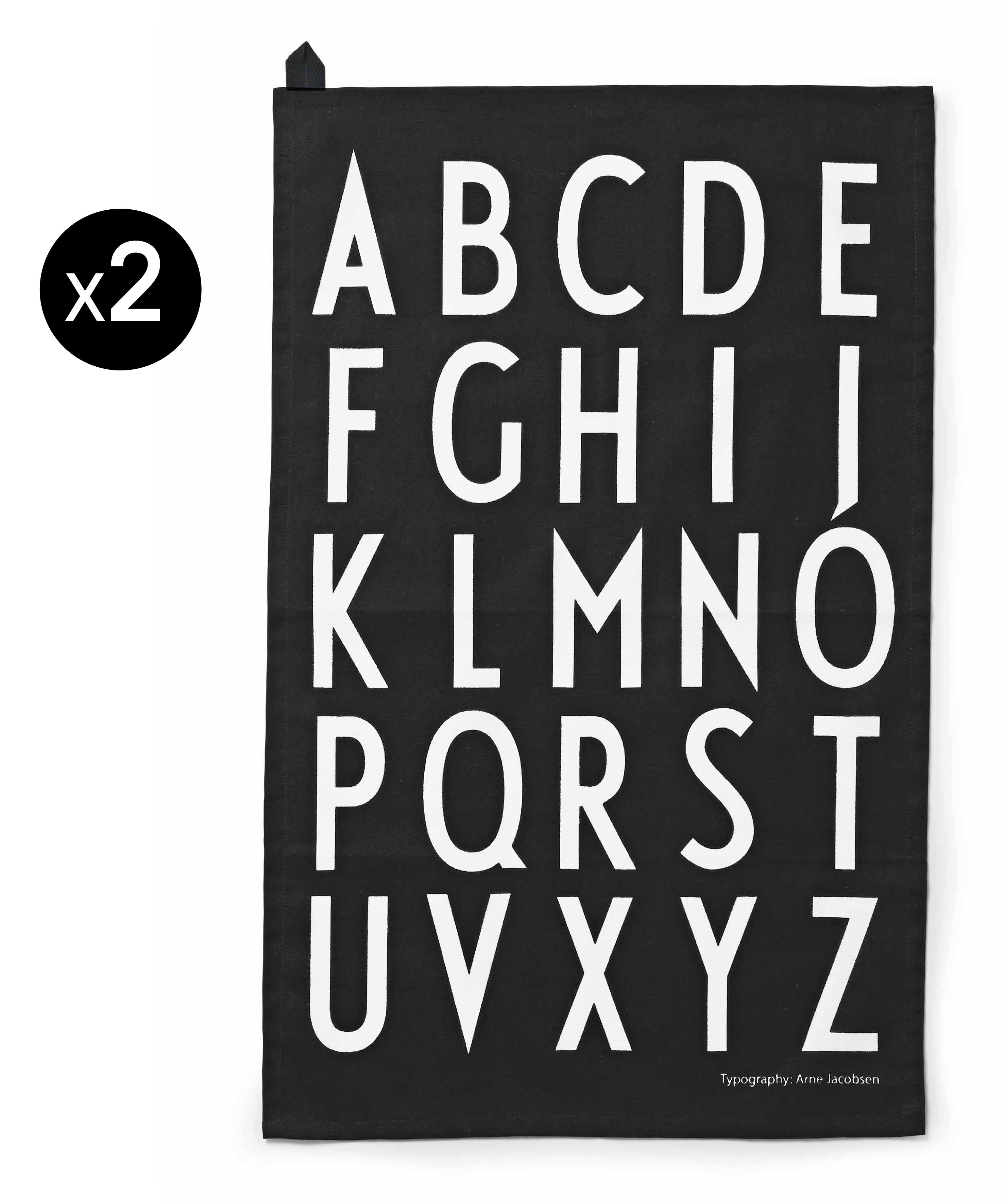 torchon arne jacobsen lot de 2 noir alphabet blanc design letters. Black Bedroom Furniture Sets. Home Design Ideas