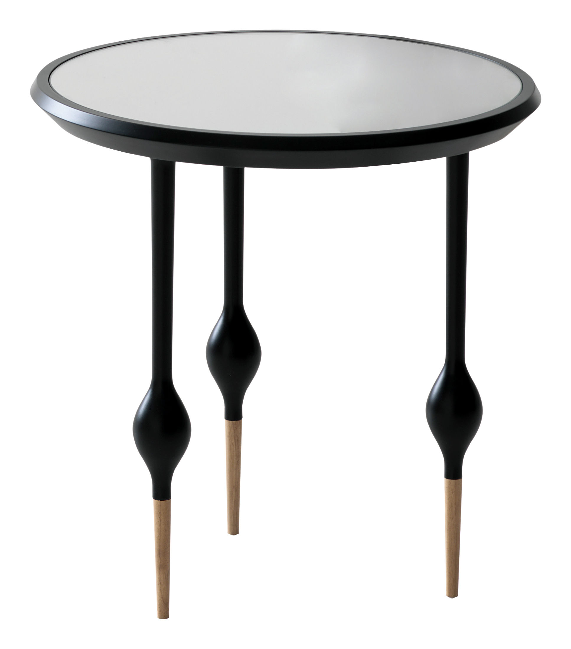 table d 39 appoint philippe i h 42 x 42 cm plateau noir verre miroir casamania. Black Bedroom Furniture Sets. Home Design Ideas