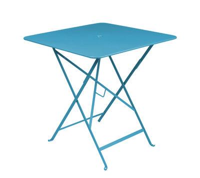 Foto Tavolo pieghevole Bistro - 71 x 71 cm - Pieghevole - Con foro per parasole di Fermob - Turchese - Metallo