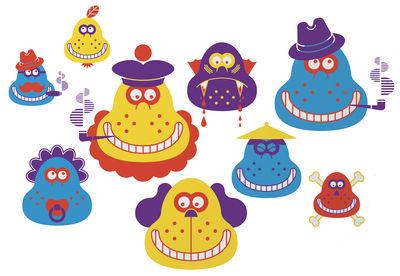 Foto Sticker Monsieur Poire di Domestic - Blu,Giallo,Arancione,Viola - Materiale plastico