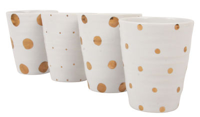 Foto Mug Dotted / Set da 4 - & klevering - Bianco,Dorato - Ceramica