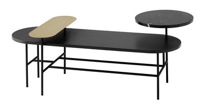 table basse palette jh7 3 plateaux noir or and tradition. Black Bedroom Furniture Sets. Home Design Ideas