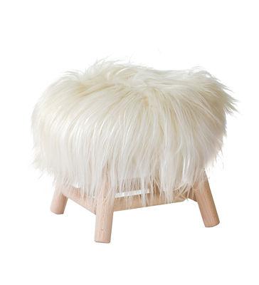 tabouret moumoute small h 27 cm peau de mouton v ritable bois poils longs blanc fab design. Black Bedroom Furniture Sets. Home Design Ideas