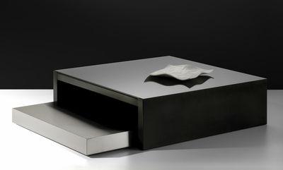Table basse max moritz verre noir acier phosphat et - Table basse 100x100 ...