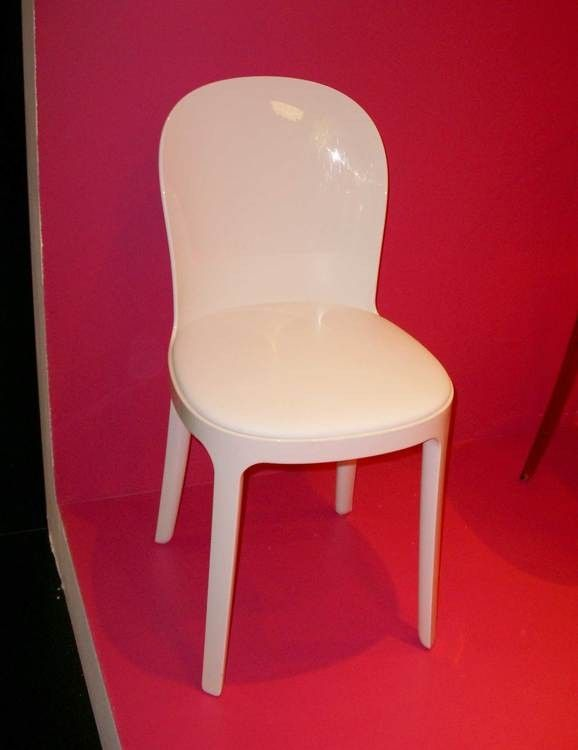 Vanity Chair Padded Chair White Polycarbonate Fabric Opaque White W
