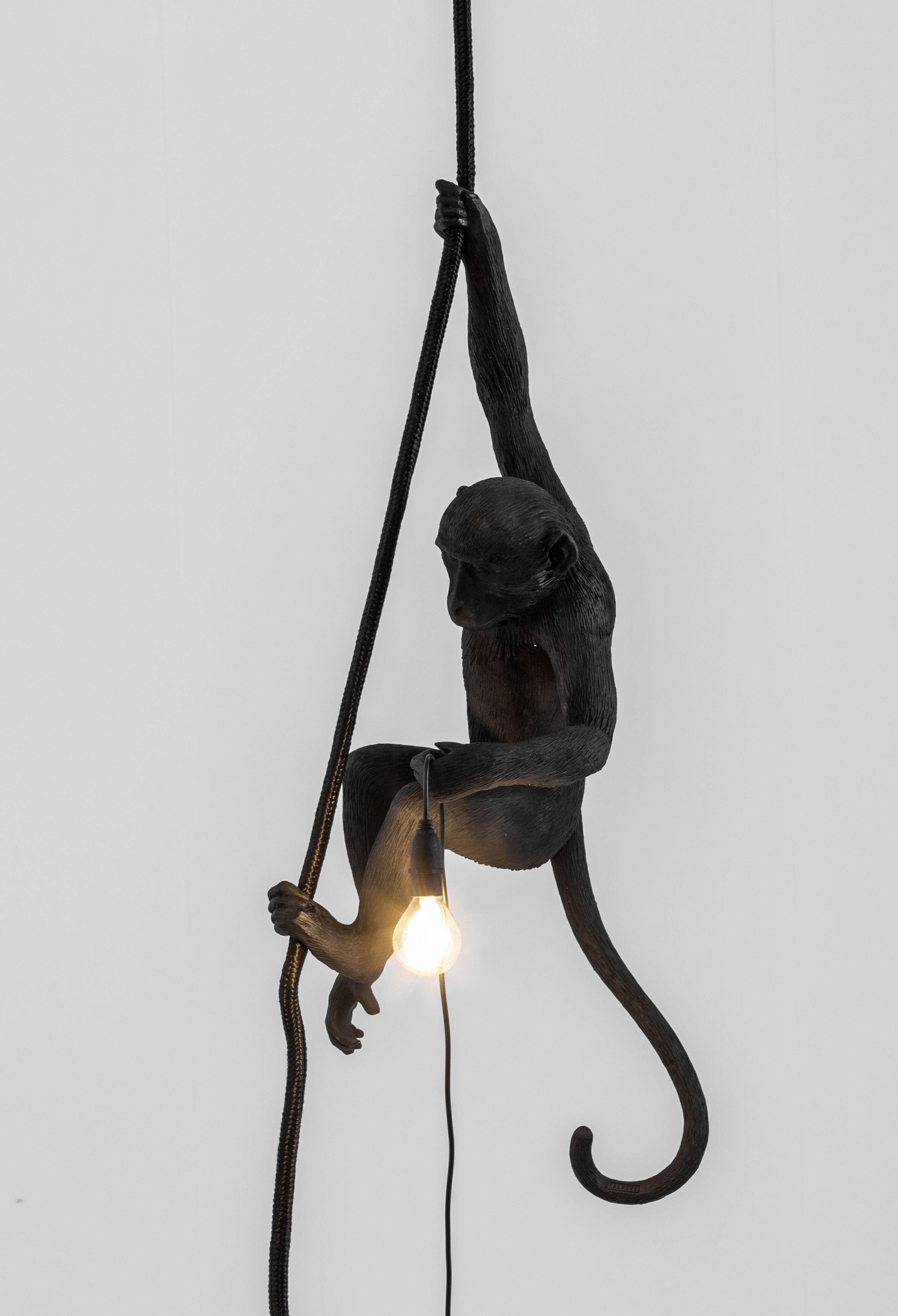 suspension monkey hanging outdoor h 80 cm noir seletti. Black Bedroom Furniture Sets. Home Design Ideas