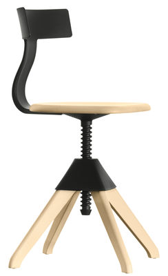 Foto Girevole sedia Tuffy - / Legno e plastica - Altezza regolabile di Magis - Nero,Legno naturale - Materiale plastico