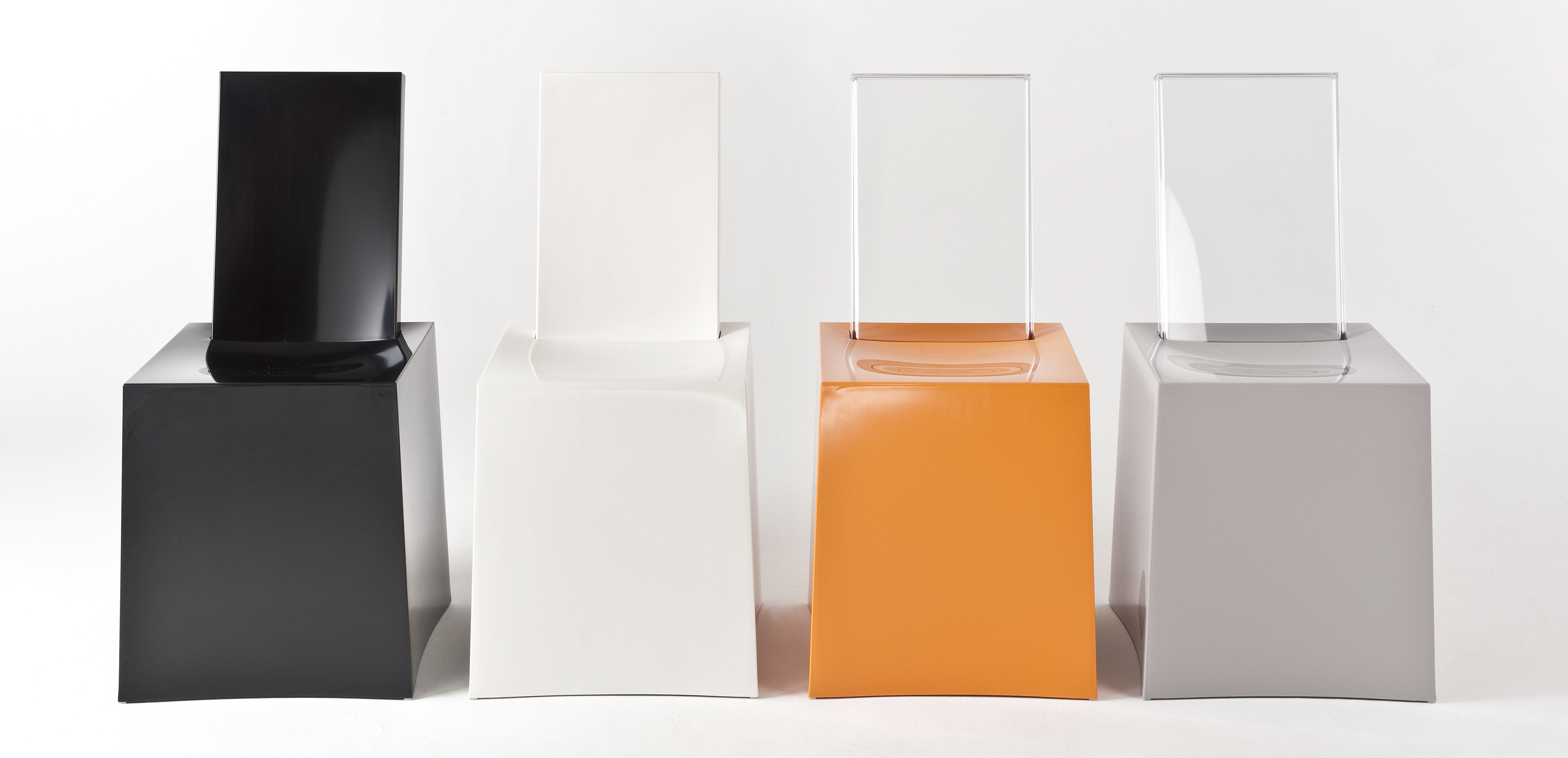 miss less chair plastic transparent backrest white crystal by kartell. Black Bedroom Furniture Sets. Home Design Ideas