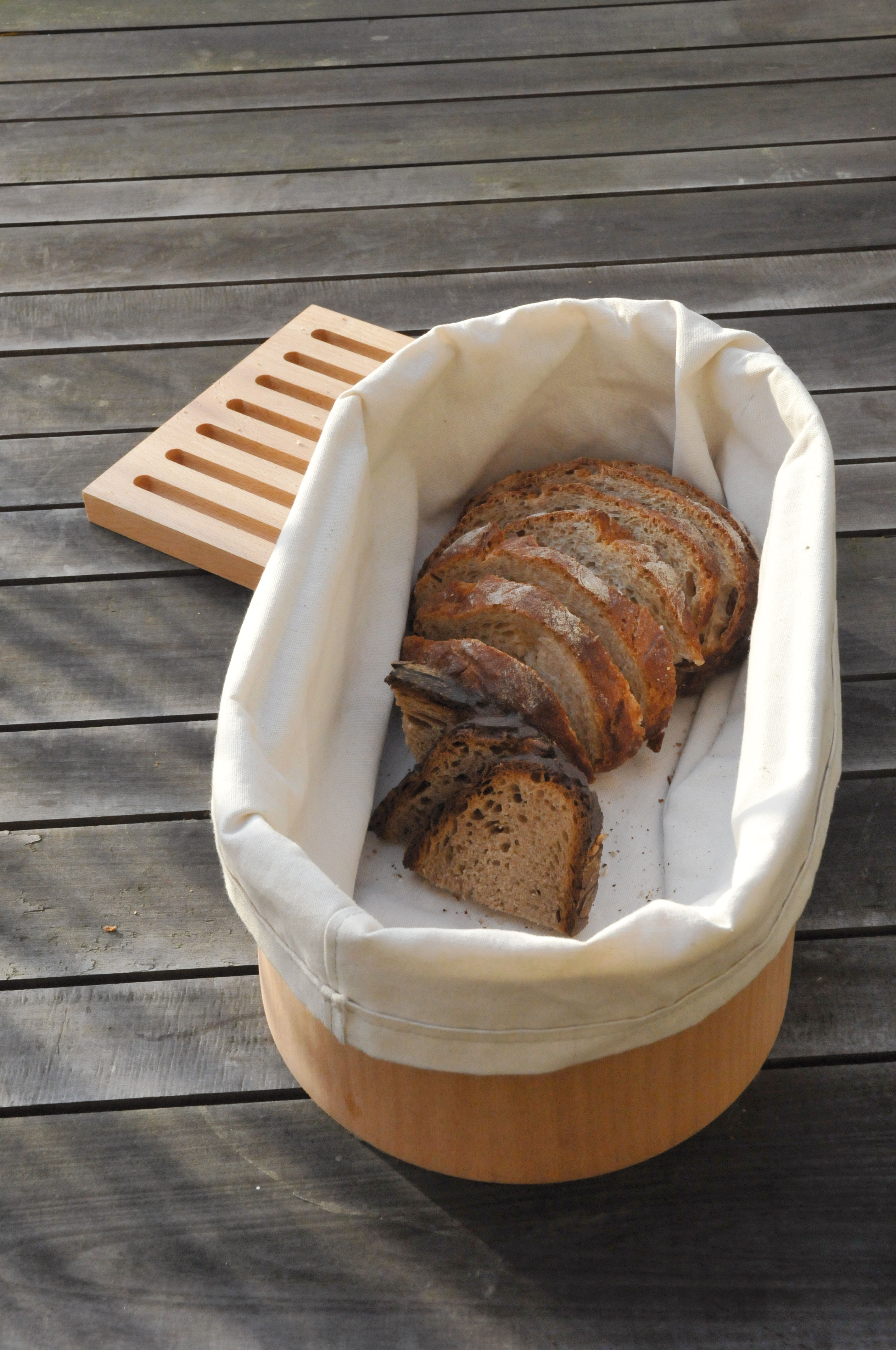 corbeille pain avec panche d couper 36 x 20 cm bois naturel blanc coton l 39 atelier du vin. Black Bedroom Furniture Sets. Home Design Ideas