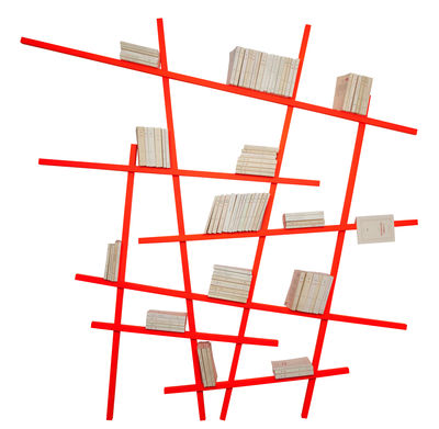 biblioth que mikado large l 215 x h 220 cm coloris exclusif orange fluo compagnie. Black Bedroom Furniture Sets. Home Design Ideas