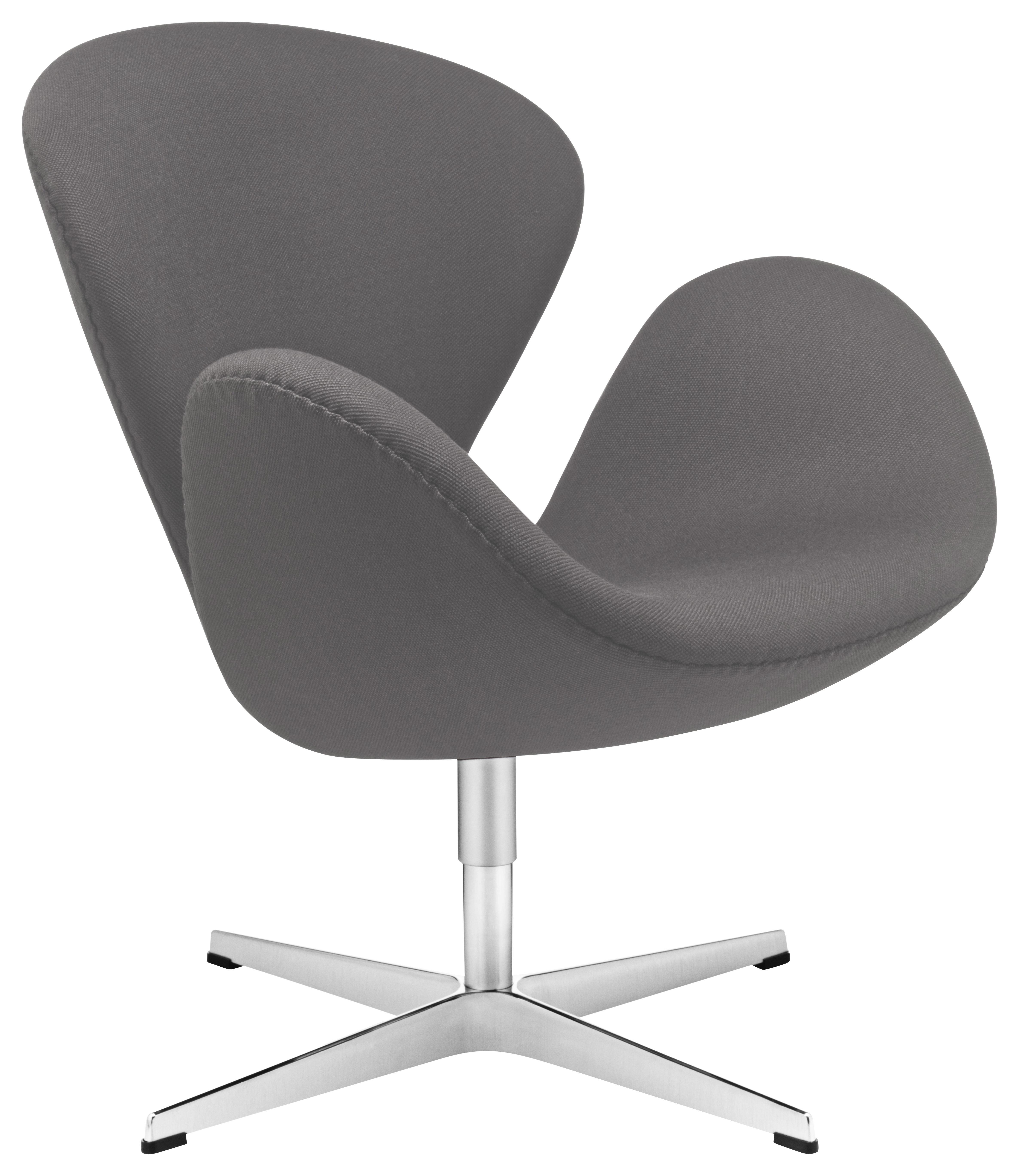 Fauteuil pivotant swan chair rembourr tissu gris fonc fritz hansen - Fauteuil pivotant gris ...