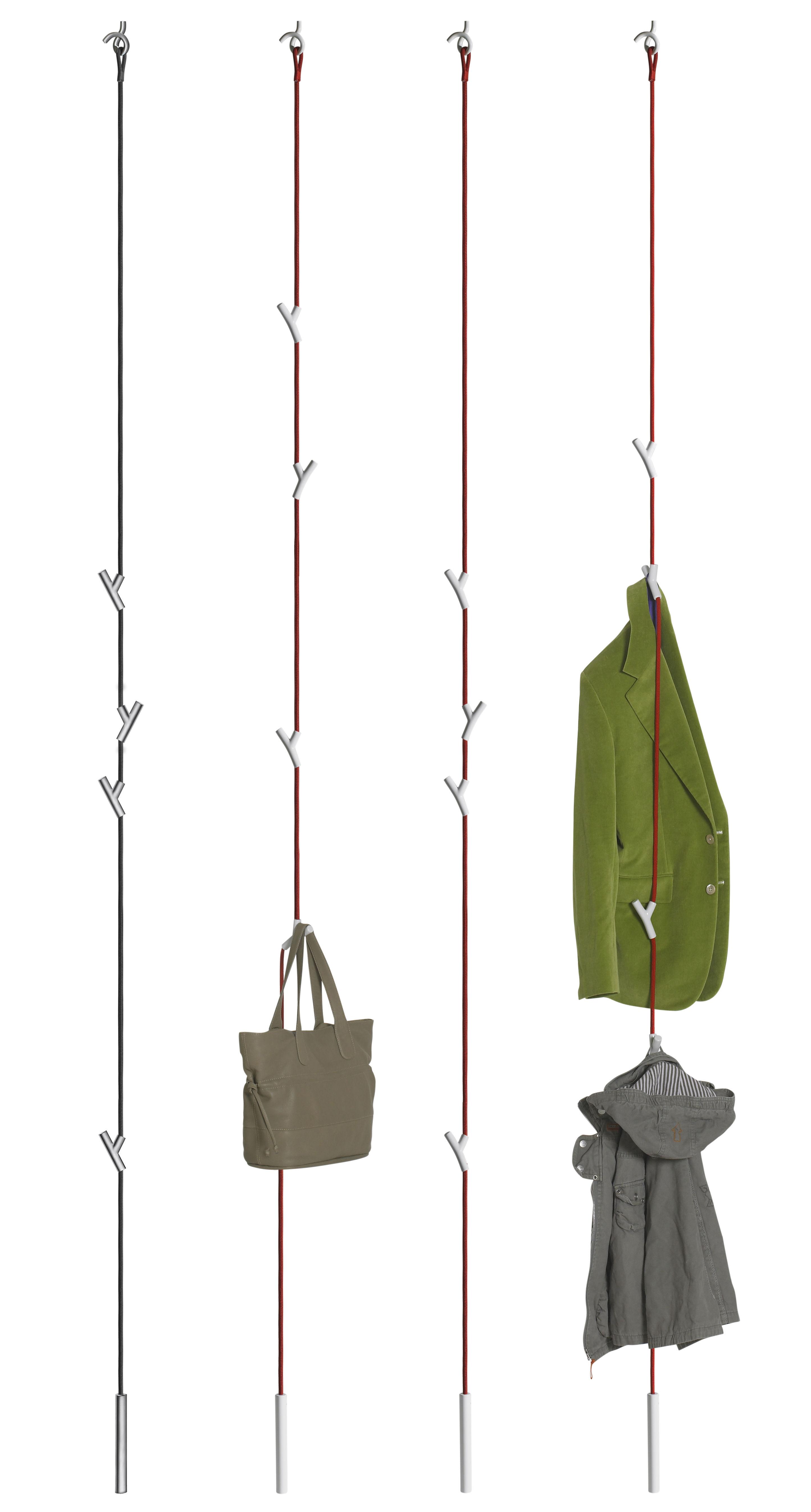 wardrope coat stand coatrack 4 hooks red rope white