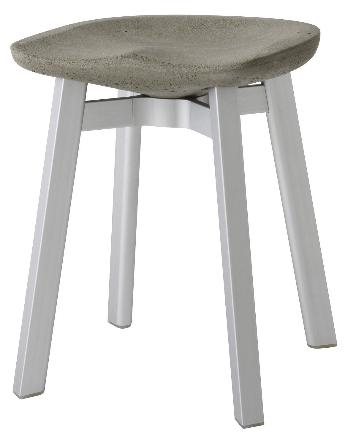 tabouret su h 47 cm b ton b ton gris pieds aluminium. Black Bedroom Furniture Sets. Home Design Ideas