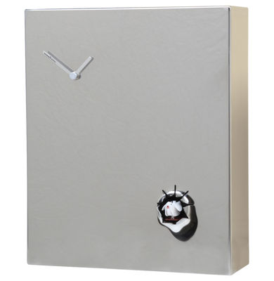 Vovia wall clock with cuckoo h 35 cm mirrored stainless steel white cuc - Horloge murale 60 cm ...
