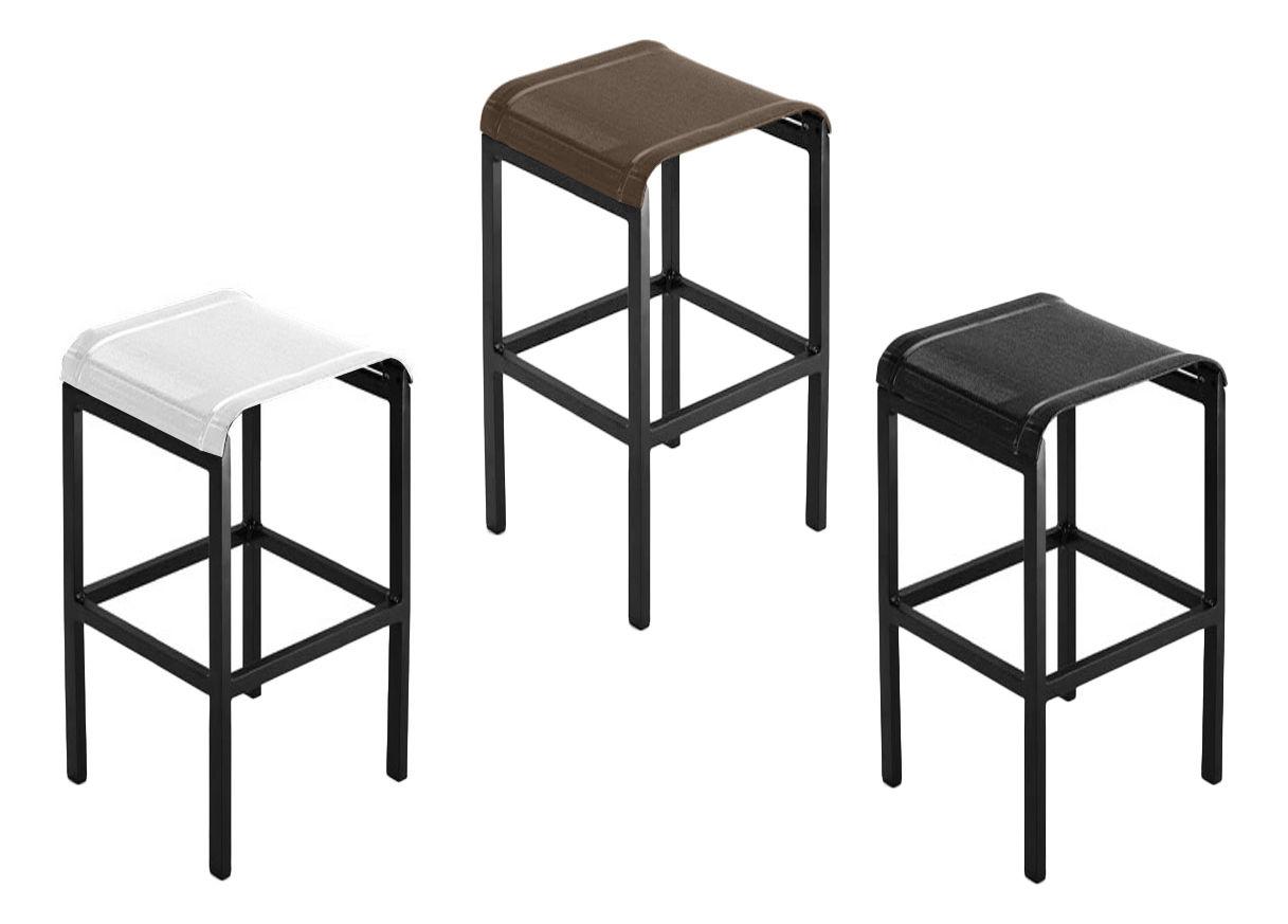 tabouret de bar tandem h 80 cm toile toile blanche structure anthracite ego. Black Bedroom Furniture Sets. Home Design Ideas