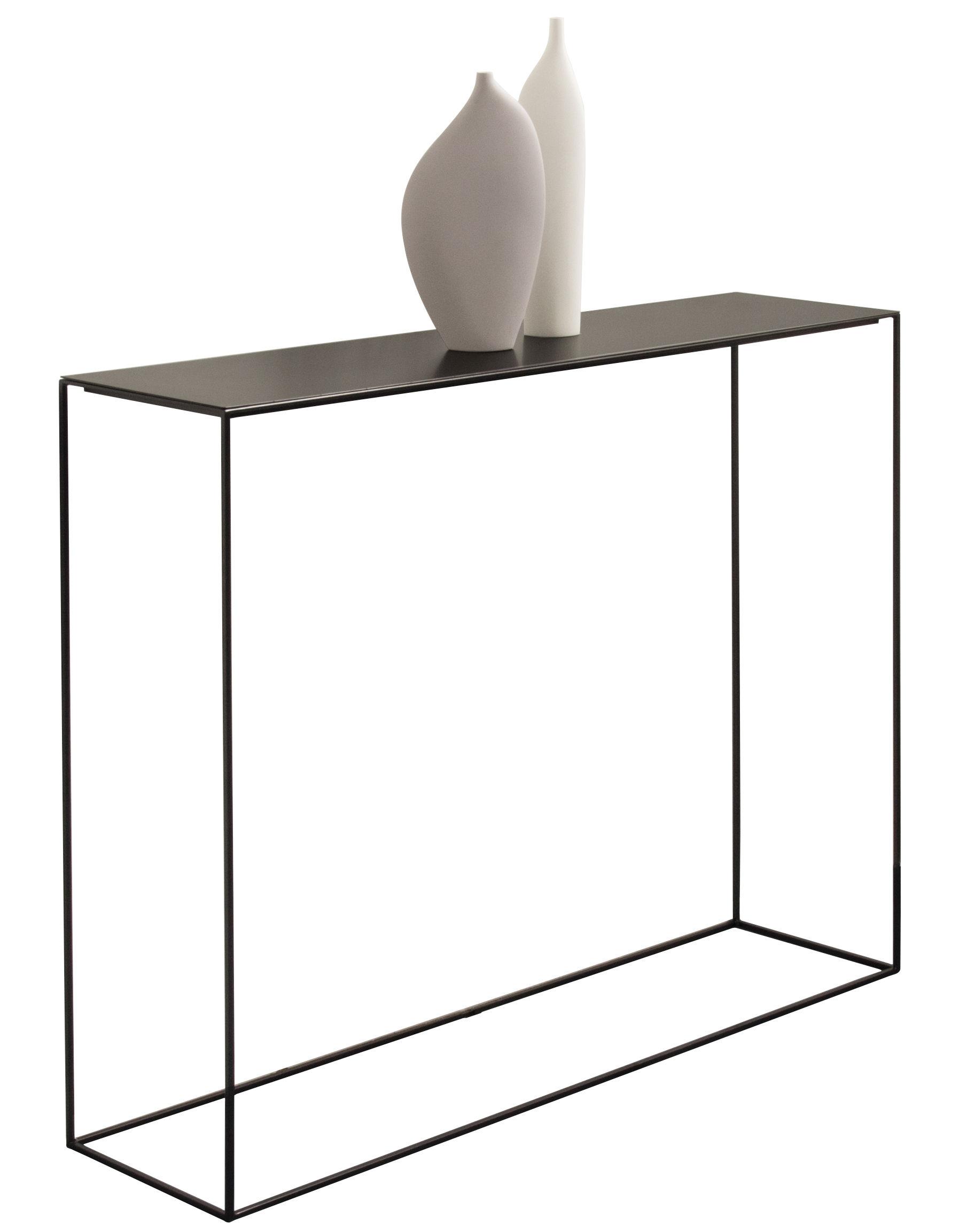 console slim irony l 124 cm plateau phosphat noir pied noir cuivr zeus. Black Bedroom Furniture Sets. Home Design Ideas