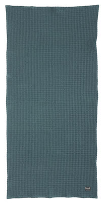 Foto Telo da bagno - / 140 x 70 cm di Ferm Living - Blu petrolio - Tessuto
