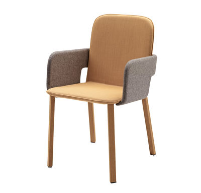 Fauteuil toast ocre accoudoirs gris casamania for Fauteuil salle a manger