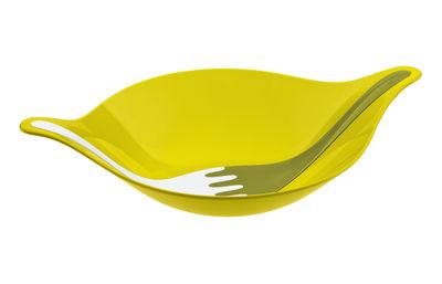 Image du produit Saladier Leaf 3 L + couverts à salade / 48 x 32 cm - Koziol Blanc,Vert en Matière plastique
