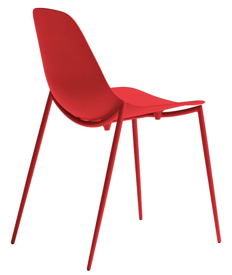 mammamia stackable chair metal shell legs by