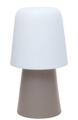 Lampe picnic h 90 cm pied tourterelle abat jour blanc for Luminaire exterieur polyethylene
