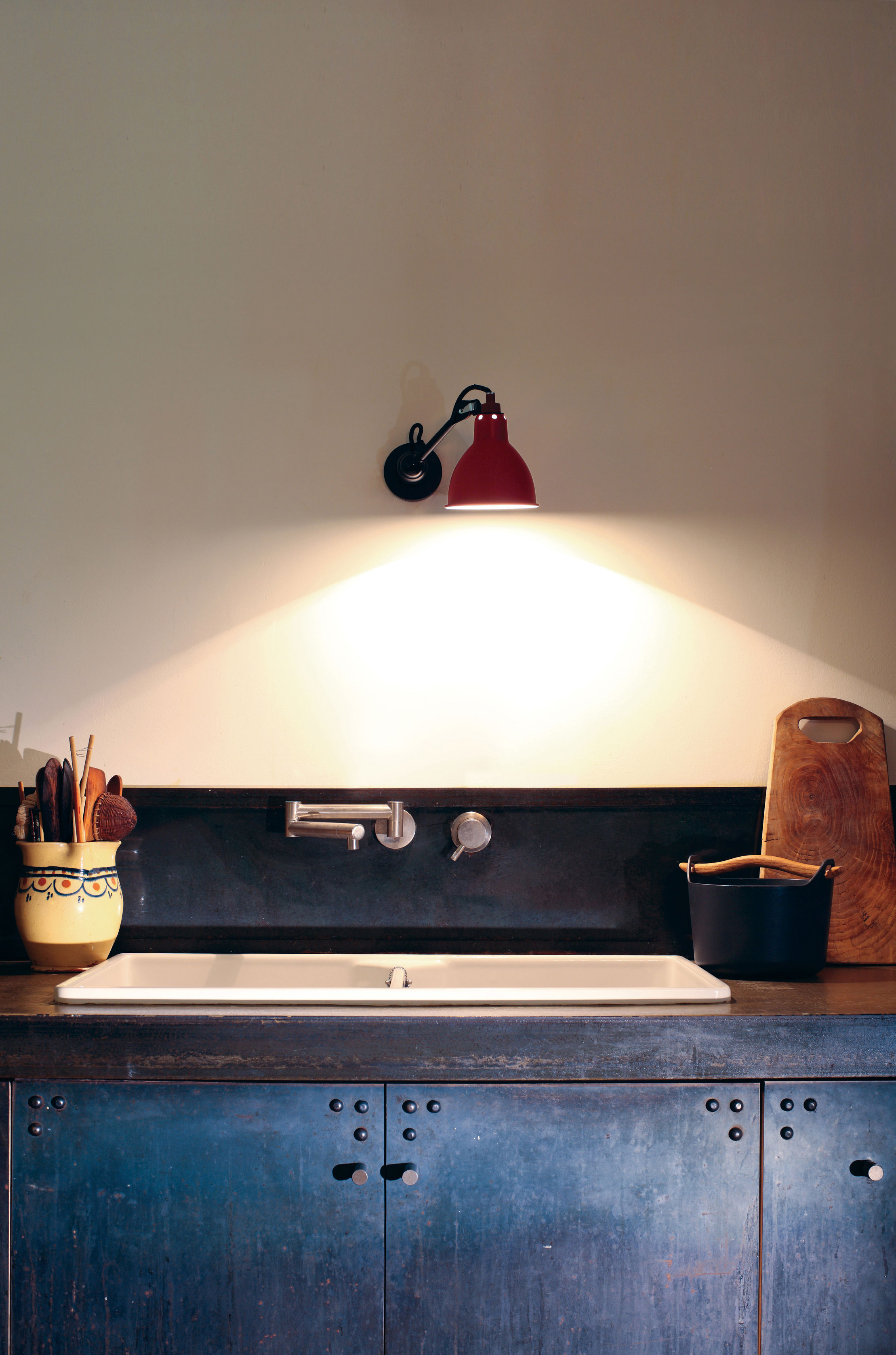 N 304 sw wall light red satin black by dcw ditions - Dcw edities ...