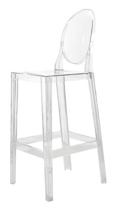 Chaise de bar one more h 65cm plastique cristal kartell - Tabouret de bar starck ...