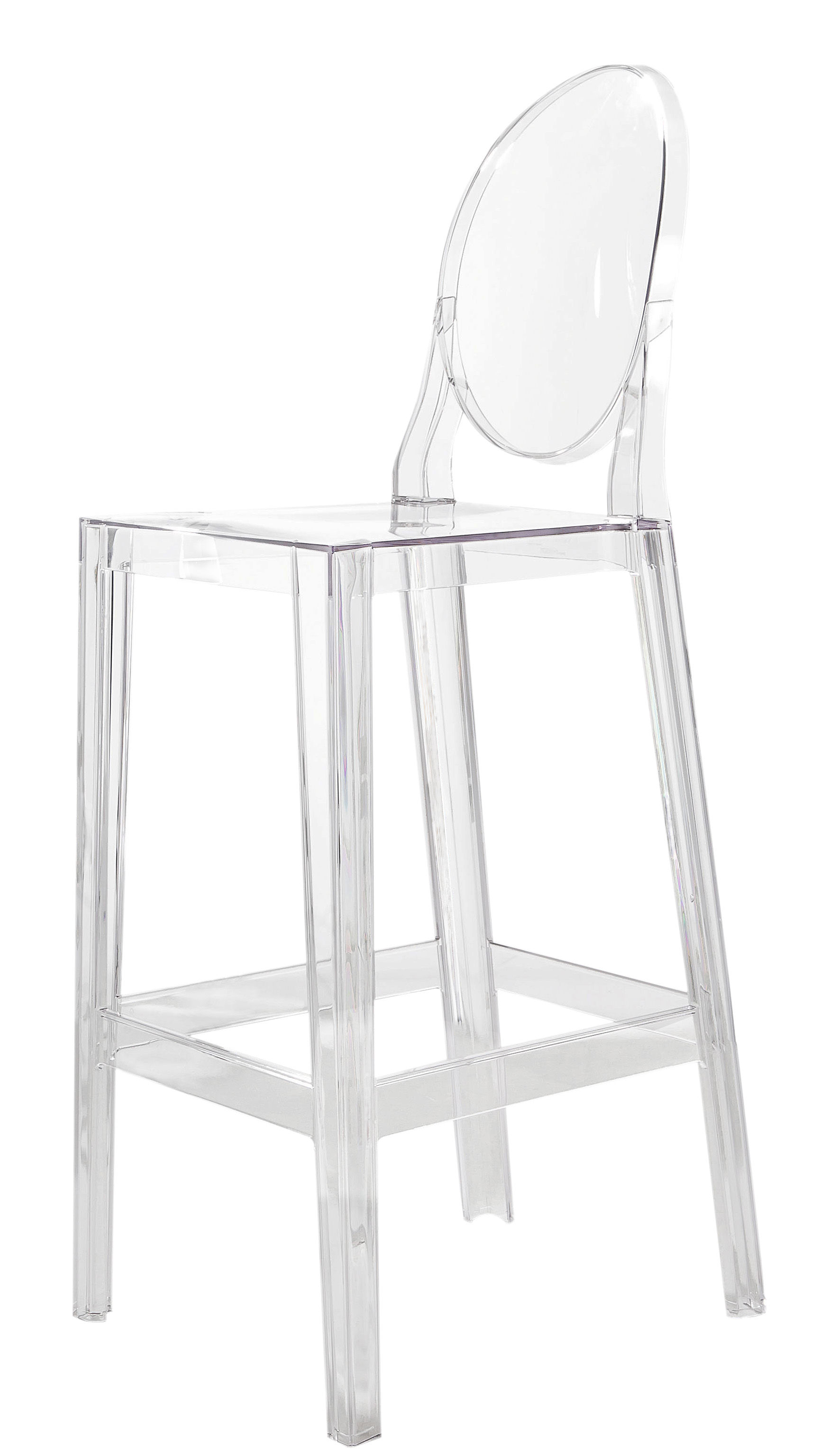 one more bar chair h 65cm plastic cristal by kartell. Black Bedroom Furniture Sets. Home Design Ideas