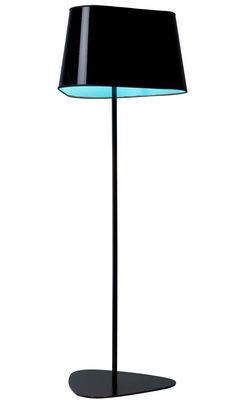 Lampadaire Grand Nuage XL H 162 cm - Designheure  PVC noir laqué / Intérieur tissu bleu