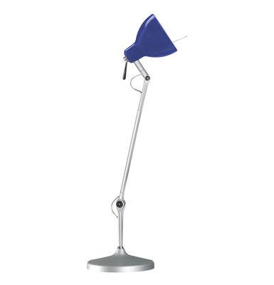 Image of Lampe de bureau Luxy T1 /Bras 3 sections - Rotaliana Métallisé / Abat-jour bleu brillant