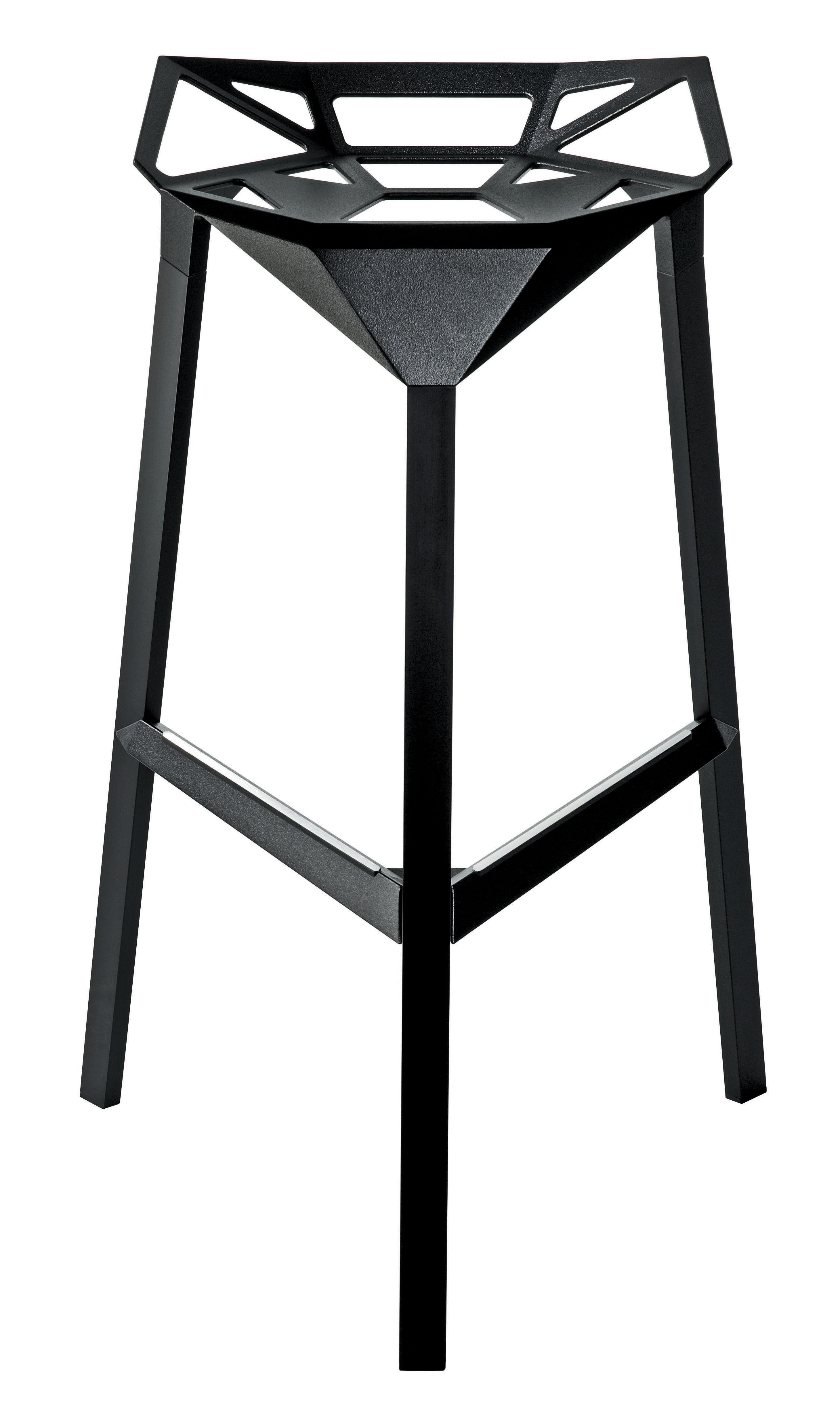 Tabouret de bar stool one h 77 cm m tal noir magis - Tabouret de bar aluminium ...