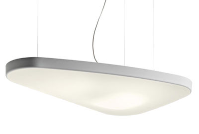 Foto Sospensione Petale - / Acustica - Versione ovale 137 x 84 cm di Luceplan - Bianco - Tessuto