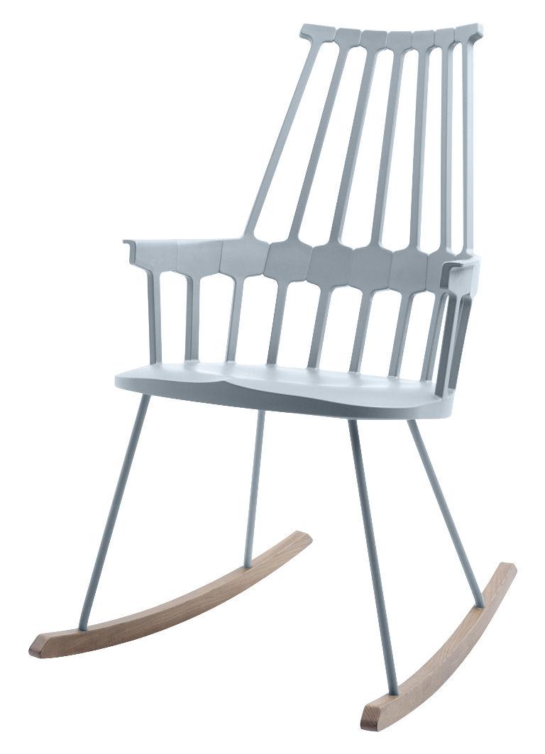 rocking chair comback polycarbonate pieds bois gris bleu bois kartell. Black Bedroom Furniture Sets. Home Design Ideas