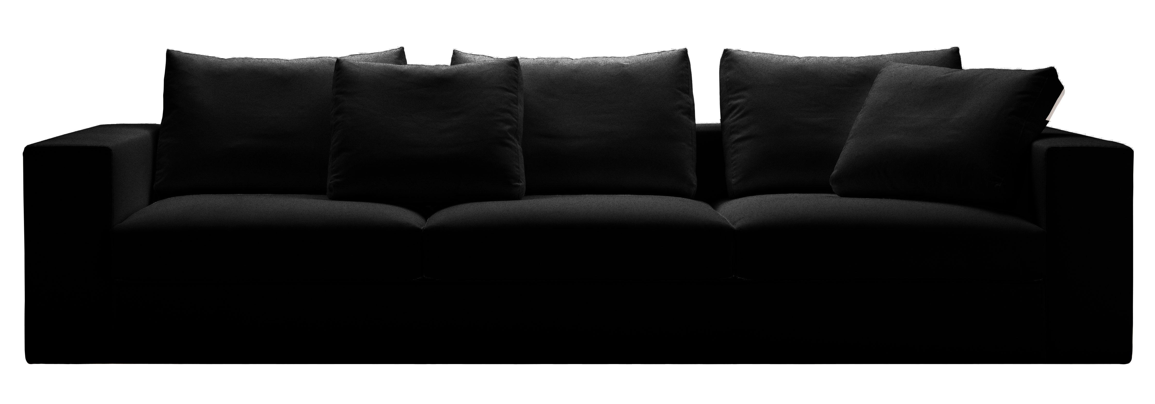 Canap droit beta cuir 3 places l 284 cm cuir noir zanotta - Canape grande profondeur ...