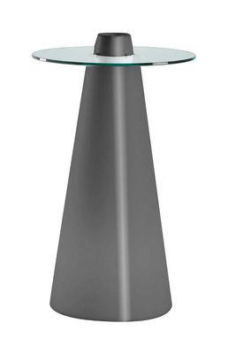 Foto Tavolo bar alto Peak - H 120 cm di Slide - Grigio laccato - Vetro