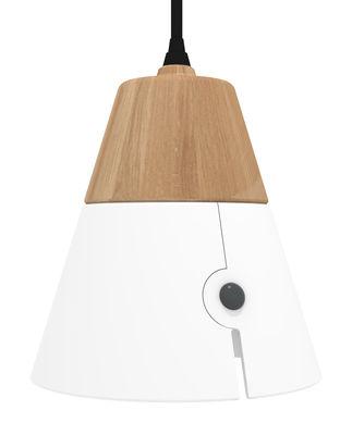 suspension cone big bois et m tal h 18 cm blanc ch ne naturel universo positivo. Black Bedroom Furniture Sets. Home Design Ideas