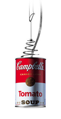 Foto Sospensione Canned Light di Ingo Maurer - Bianco,Rosso - Metallo