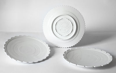 Foto Piatto Machine Collection - / Ø 27,2 cm - Set da 3 di Diesel living with Seletti - Bianco - Ceramica