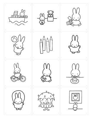 Foto Pannello decorativo Miffy - da colorare / 60 x 80 cm di ixxi - Bianco,Nero - Carta